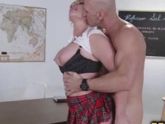 Hot blonde fucked by horny teacher