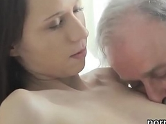 Lovable college cookie is teased and pounded by her older teacher
