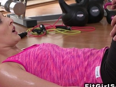 Handsome ephemeral fucks slim blonde babe about the gym