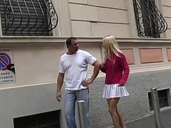 A blonde is taken and dragged to hand home for mad about at the end of one's tether a bad guy