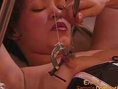 Hot brunette slut gets fisted hard by their way kinky dominatrix