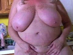 Superb big tits old spunker loves to leman her stained wet pussy