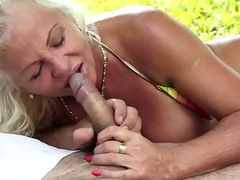 Busty grandma pussyfucked in the nature