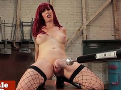 Redhead tgirl tugged coupled with fucked by machine