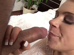 Dirty slut Henchman fills her mouth with cum after hardcore fuck