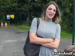 Fucking broke bigtit chick outdoors