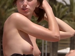 Sexy babe Topless mess about