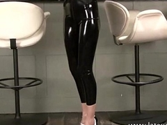 Shiny latex barmaids rubber fetishwear and high heel babe posing in solo softcor