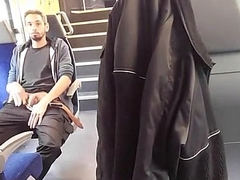 Exhibitionist shows his dick beyond the train