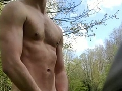 Fit guy strips outdoor coupled with get caught
