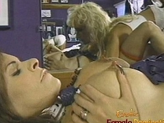 Charming brunette bimbo not far from big naturals gets lashed by two hot dominas