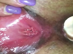 Spreading pierced sopping pussy fucked in aggravation with glass plug