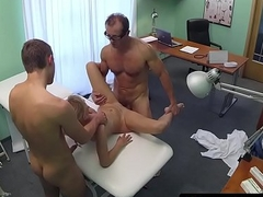 Real patient screwed in doctor trio before cum