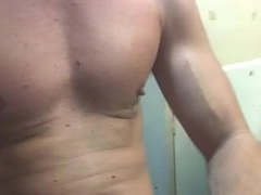 ginger beard strokes and shoots jizz on his pair
