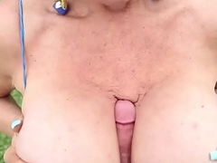 Granny jerks elsewhere guys dick outdoor